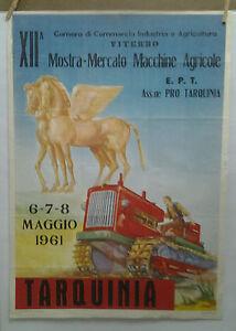 AFFICHE ORIGINALE ANCIENNE MERCATO MACHINE AGRICOLE TRACTEUR  TARQUINIA ITALIE
