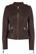 Oasis Collarless Quilted Leather Jacket L