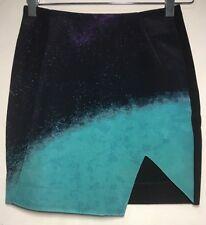 New! NICHOLAS Designer bonded silk split hem galaxy mini skirt ~ sz 6