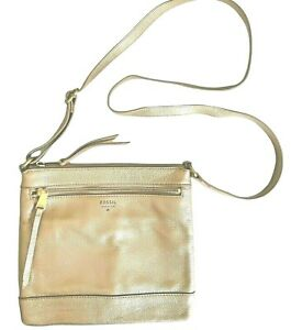 Fossil Rose Gold Pebbled Leather Square Crossbody Bag Purse Handbag Long Strap
