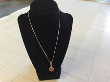 "Necklace-Sterling 925 with Amber stone & 18"" chain Italy"