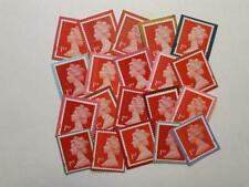 20 UNFRANKED RED FIRST CLASS SECURITY STAMPS ON COLOURED PAPER