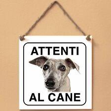 WHIPPET 2 Attenti al cane Targa piastrella cartello cane ceramic tile sign