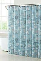 Coastal Life Fabric Shower Curtain Starfish Resin Hooks Nautical Bath Seashells