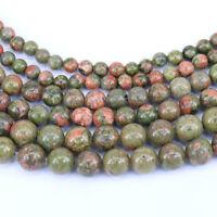 15'' Natural Salmon Moss Unakite Gemstone Stone Spacer Loose Beads 4/6/8/10MM