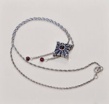 """16"""", Israel sterling silver necklace, 925 Singapore chain w/ garnet pendant"""