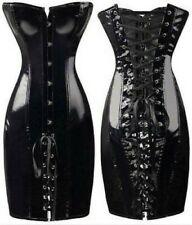 Сексуальный женский ПВХ с баской на шнуровке платье в обтяжку корсет на косточках костюм формирователь платье