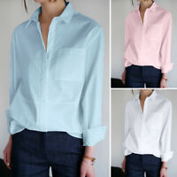 Womens Long Sleeve Cotton Plain Shirt Office OL Work Basic Tops Blouse Plus Size