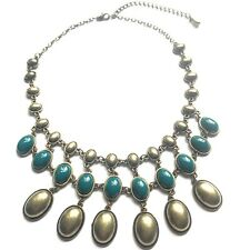 TURQUOISE CABOCHON TIERED BRONZE LARGE STATEMENT NECKLACE