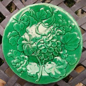 "Antique Vintage Green Majolica 9"" Plate Flowers Geraniums"