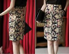 Cotton Blend Straight, Pencil Knee-Length Floral Skirts for Women