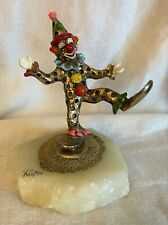 Ron Lee Clown Sculpture - 24K Gold Plated Figurine - Clown on Marble Base - Sign