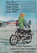 PUBBLICITA' RITAGLIO DI GIORNALE HARLEY DAVIDSON 125 cc U.S.A. ANNI '60 4-76