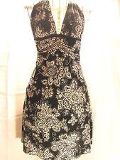 White House Black Market Dress  Sleeveless Halter Floral  Lined  Sz. 0