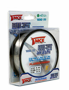 Take Akashi Fluorocarbon Invisible Fishing Line 50 & 100 m Spools All Sizes New