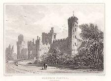 1840 VICTORIAN PRINT ~ WARWICK CASTLE WARWICKSHIRE EXTERIOR