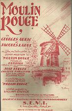"""SPARTITO _ FILM """"MOULIN ROUGE """"_GEORGES AURIC JACQUES LARUE_S.E.M.I. PARIS  1953"""