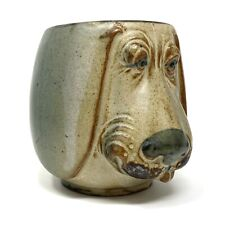 Vtg Art Pottery Floppy Eared DOG FACE Coffee Mug Stoneware