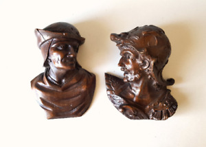 man bust Antique wood carving scultpure pair Architectural salvage Gothic style