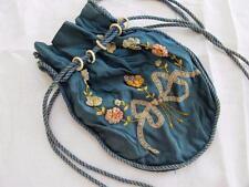 Antique Victorian Turquoise Soie & ribbonwork fleur sac réticule c1860