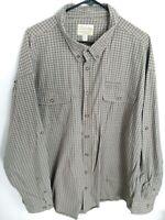 Eddie Bauer Mens Size 3XLT Tall Brown Plaid Long Sleeve Button Up Hiking Shirt