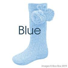 Baby Boys Girls 1 Pair Pom Pom Spanish Romany Style Knee-Length Stretch Socks in Multi Colours S47 6-12 Months, Black