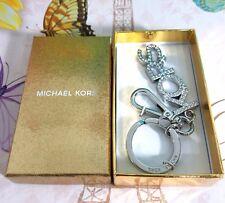 NWT Michael Kors Jewel Keychain Charm SH Rhodium Crystal Medallion Gift Box Ring