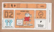 Argentina 78 FIFA Soccer World Cup match ticket ARGENTINA v HUNGARY match #02
