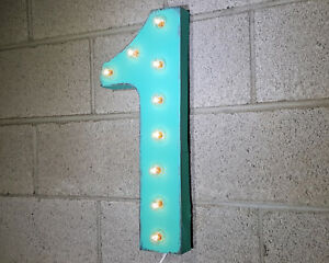 """21"""" NUMBER 1 ONE Plug-In Vintage Style Rustic Metal Marquee Light Up Sign"""