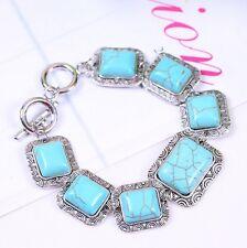 Chalcedon palillos chinos pulsera preciosa de color azul claro Aqua color en stretchband