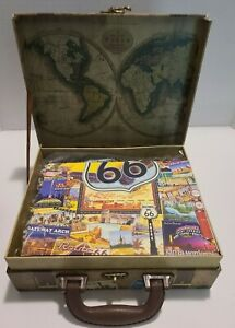 """Masterpieces """"Route 66"""" 1000 Piece Jigsaw Puzzle In A Suitcase w/ Poster NEW"""