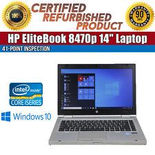 """C Grade HP EliteBook 8470p 14"""" Intel i5 8GB RAM 320GB HDD WiFi USB Win 10 Laptop"""