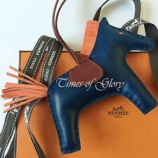 RARE Nuovo Hermes Gri-Gri RODEO mm in Pelle Borsa Fascino Birkin Kelly MALTE Blu Arancione