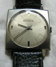 ERNEST BOREL VINTAGE ALL SS LARGE SQUARE THIN DRESS 1760 17J MAN WIND GREAT DIAL