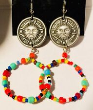 Beads Hoop New with box and bag Boho Earrings Metal Sun and Multi Collored