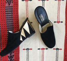 Vintage 70's Suede and Leather Wedge Mules 70s Leather Heels