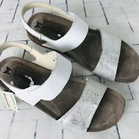 Mephisto Ankle Strap Sandals White Silver Metallic Women's Comfort Sandals US 11