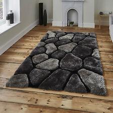 Noble House Hand Tufted 3d Pebble Design Shaggy Pile Rug Super Soft Large Mat Black & Grey 150cm X 230cm
