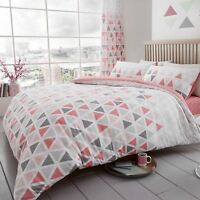 GEO TRIANGLE DOUBLE DUVET COVER SET REVERSIBLE GEOMETRIC BEDDING - PINK