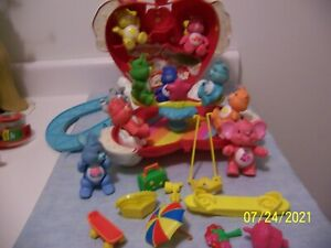 CARE BEAR CARE A  LOT HEART HOUSE WITH 10 BEARS AND COUSINS AND ACCESSORIES