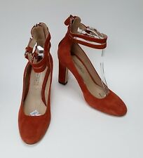 Massimo Dutti Shoes Heels Burnt Orange Rust 2 Ankle Straps Suede Womens Size 39