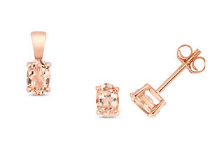 Morganite Pendant and Earrings Set Oval Solitaire Solid Rose Gold Hallmarked