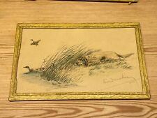 More details for antique leon danchin signed ltd ed english setter dog etching 1930 no. 76 of 500
