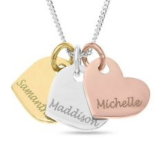Personalised Sterling Silver Gold Rose Gold Plated Heart Pendant Gift Necklace