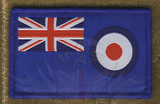 RAF RED,WHITE & BLUE UNION JACK & ROUNDAL FLAG PATCH VELCRO® BRAND HOOK,IFF,TRF