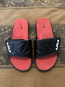 lebrons slides black and red size 9
