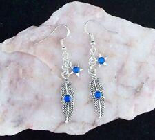 Tibetan Silver Feather & Star Blue Diamante, 925 Sterling Silver Hook Earrings