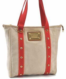 Authentic Louis Vuitton Antigua Cabas MM Tote Bag Ivory Red M40035 LV D0615