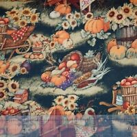 Wheel Barrel With Pumpkins 100% cotton fabric by the yard