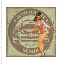 PIN UP GIRL AND AUTO REPAIR SHOP  Sticker Decal